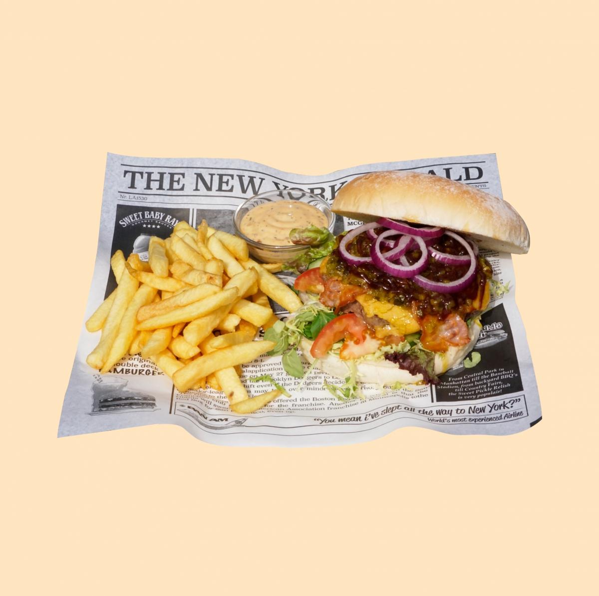 Black Angus burger met patat